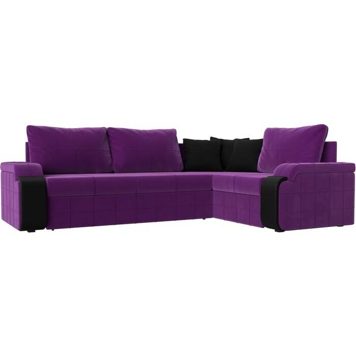 Фото - Диван угловой АртМебель Николь микровельвет фиолетовый/черный правый угол диван угловой артмебель николь микровельвет черный фиолетовый левый угол