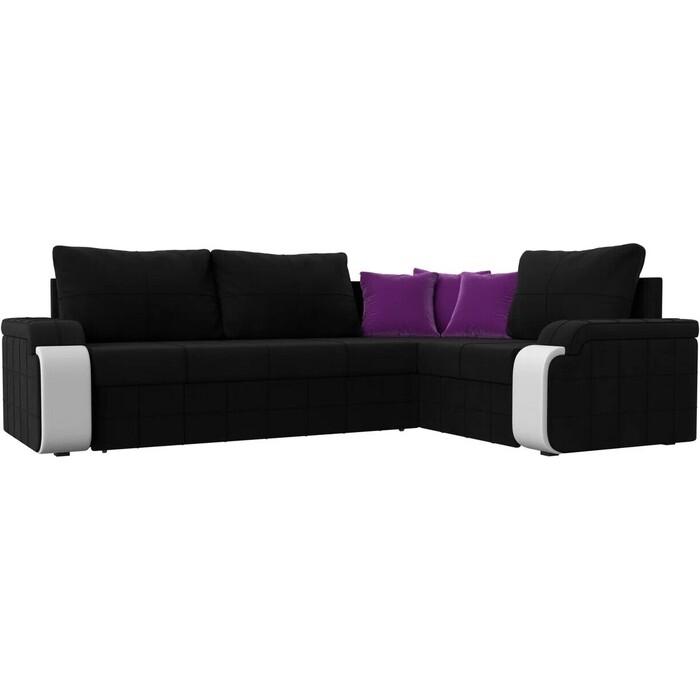 Фото - Диван угловой АртМебель Николь микровельвет черный/фиолетовый правый угол диван угловой артмебель николь микровельвет черный фиолетовый левый угол