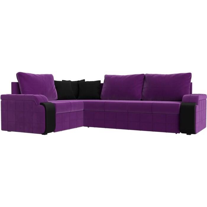 Диван угловой АртМебель Николь микровельвет фиолетовый/черный левый угол