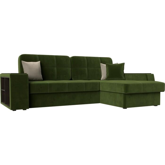 Диван угловой Лига Диванов Брюсель микровельвет зеленый правый угол угловой диван лига диванов канзас микровельвет зеленый правый угол