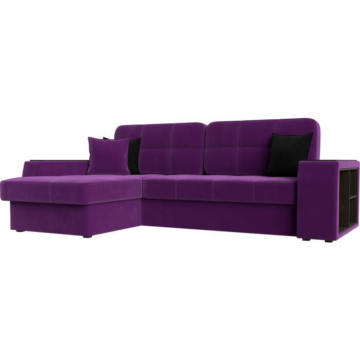 Фото - Диван угловой АртМебель Брюсель микровельвет фиолетовый левый угол угловой диван артмебель белфаст микровельвет фиолетовый левый угол