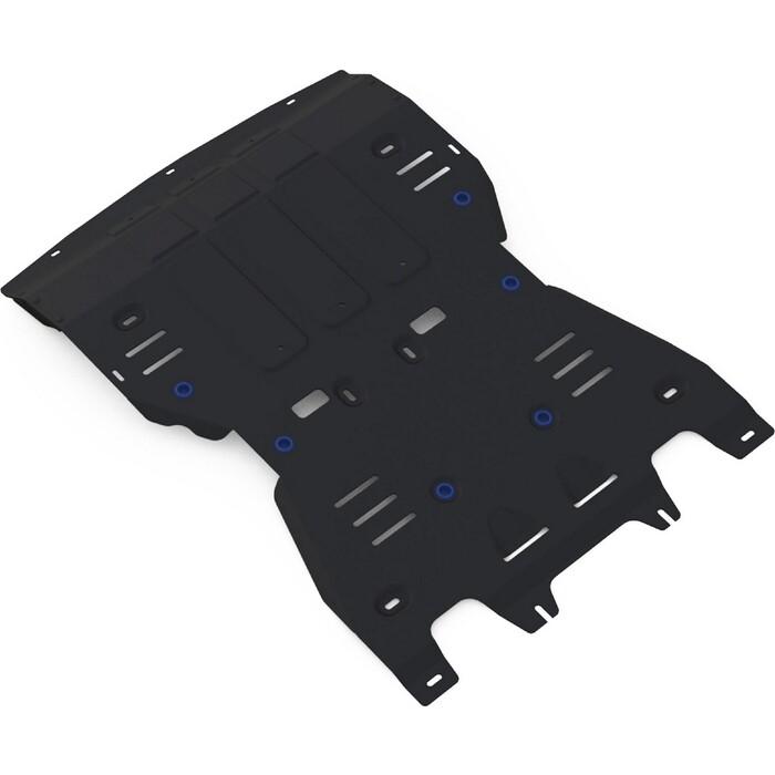 Защита картера и КПП (черная) Rival для Porsche Macan (2014-н.в.), алюминий 4 мм, 333.4605.2