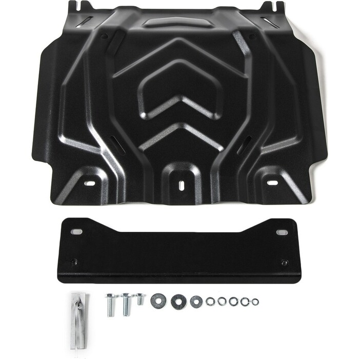 Защита картера Rival для Fiat Fullback (2016-н.в.) / Mitsubishi L200 V (2015-2018 2018-н.в.) Pajero Sport III (2016-н.в.), сталь 2 мм, 111.4041.2