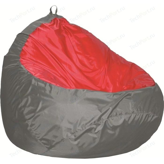 Пуф Комфорт - S Груша-2 оксфорд серый/оксфорд красный