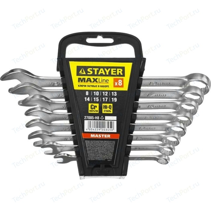 Набор ключей комбинированных Stayer 8шт 8-19 мм (27085-H8) набор комбинированных ключей matrix 15406 8 19 мм 8 шт