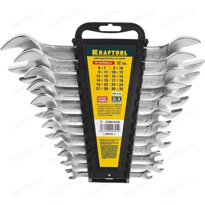 Набор ключей рожковых Kraftool 12шт 6-32 мм (27033-H12C)