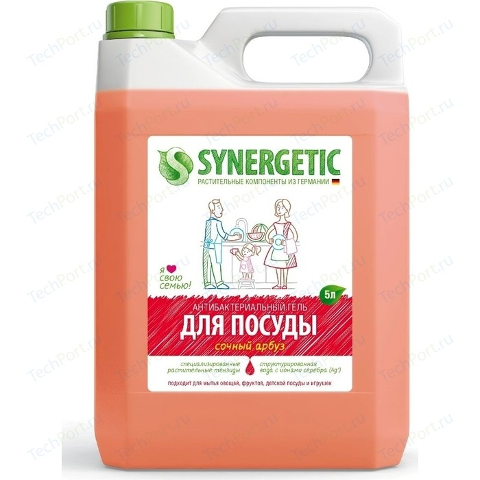 Средство для мытья посуды Synergetic АРБУЗ, 5 л средства для мытья посуды synergetic средство для мытья посуды synergetic лимон 1 л
