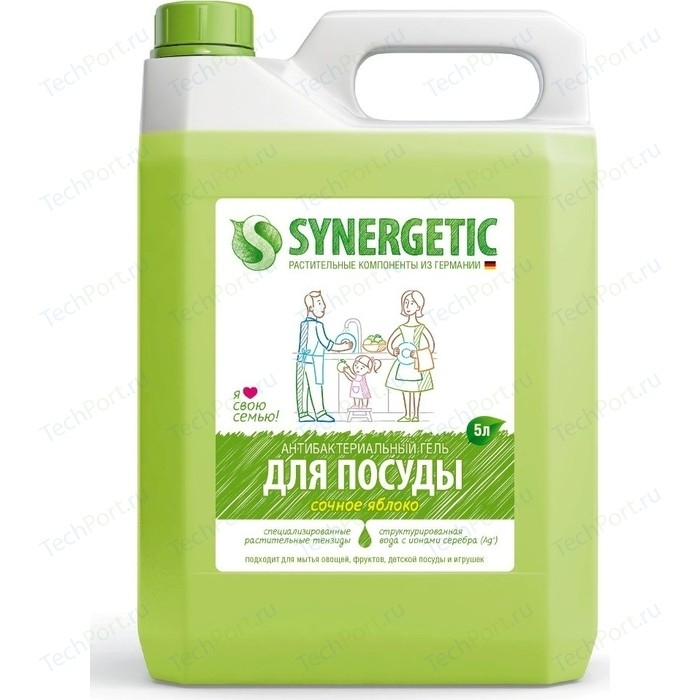 Средство для мытья посуды Synergetic ЯБЛОКО, концентрированное, 5 л средства для мытья посуды synergetic средство для мытья посуды synergetic лимон 1 л