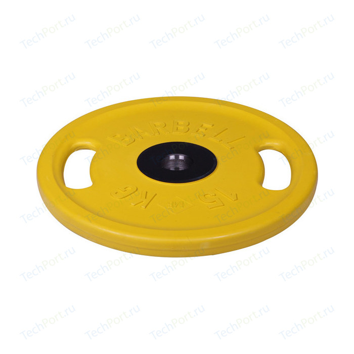 Диск олимпийский MB Barbell 51 мм. 15 кг. желтый Евро-Классик с ручками