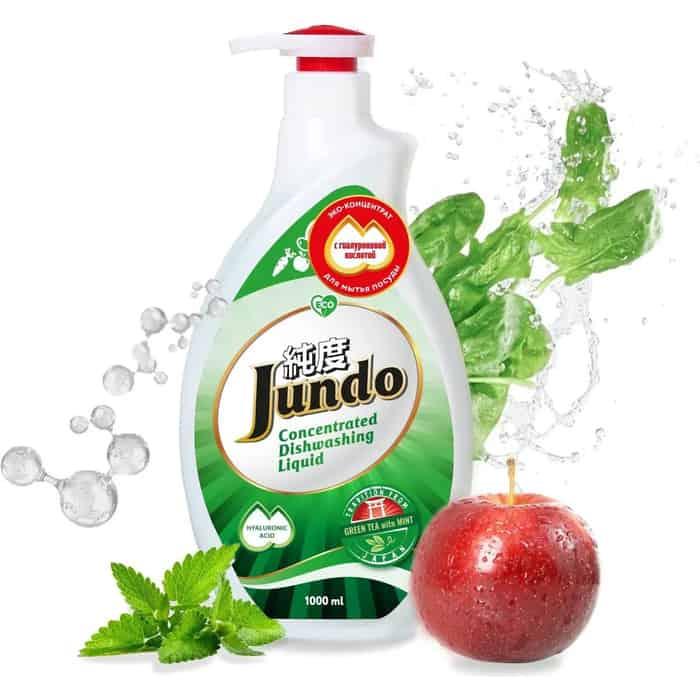 Гель для мытья посуды и детских принадлежностей Jundo Green tea with Mint, с гиалуроновой кислотой, концентрат , 1 л