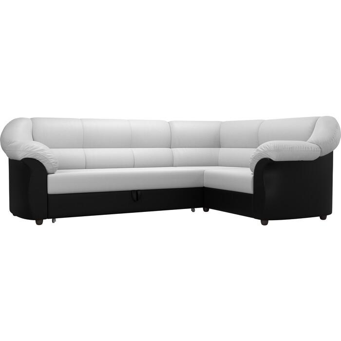 Угловой диван АртМебель Карнелла экокожа белый/черный правый угол