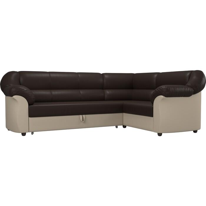 Угловой диван АртМебель Карнелла экокожа коричневый/бежевый правый угол