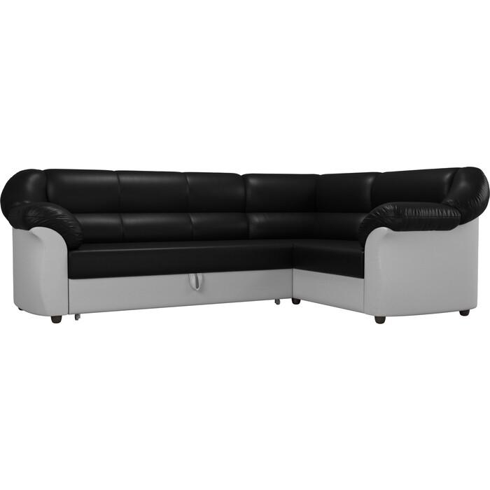 Угловой диван АртМебель Карнелла экокожа черный/белый правый угол