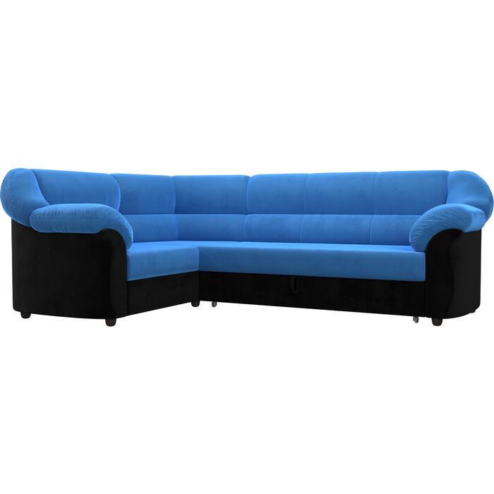 Угловой диван Лига Диванов Карнелла велюр голубой/черный левый угол угловой диван лига диванов карнелла велюр голубой экокожа черный левый угол