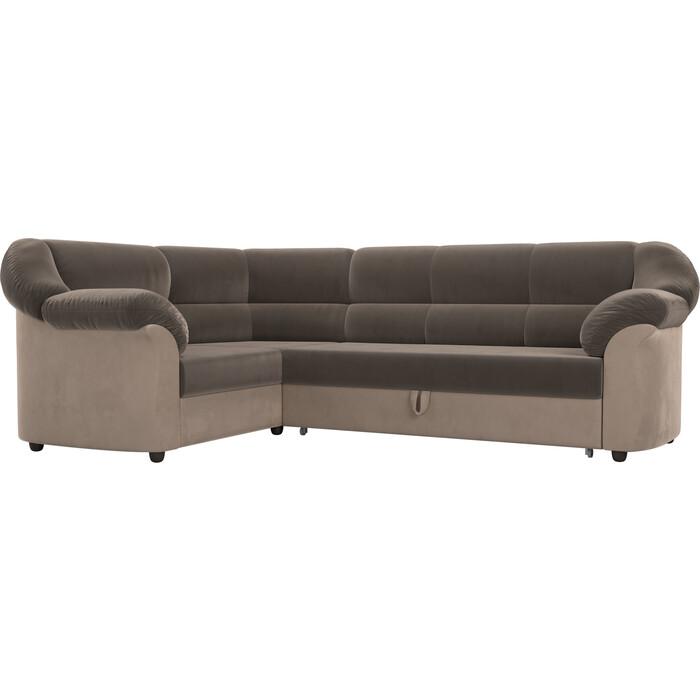 Угловой диван Лига Диванов Карнелла велюр коричневый/бежевый левый угол угловой диван лига диванов карнелла велюр коричневый экокожа бежевый левый угол