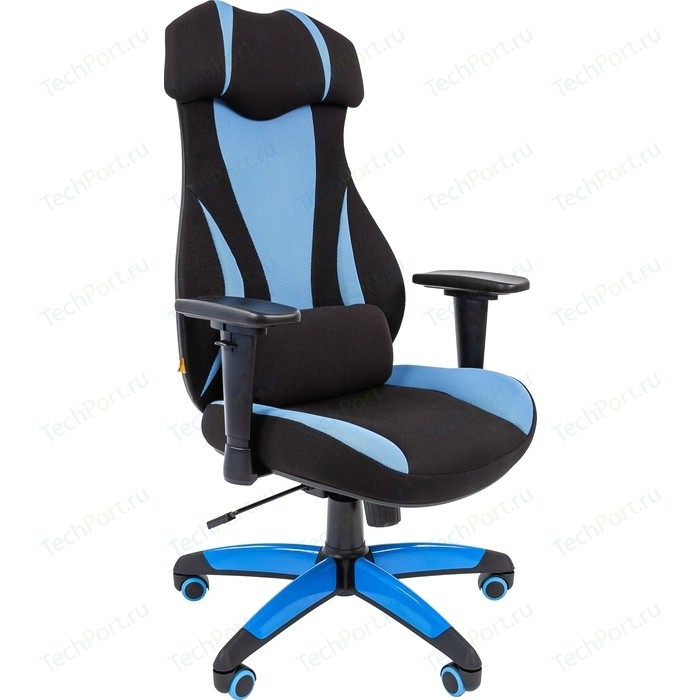 Офисноекресло Chairman game 14 ткань черный/голубой