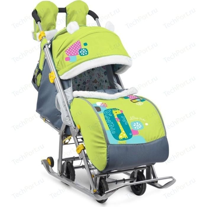 Сани коляска Ника комбинированная детям 7-2 (Коллаж-жираф Лимонный) НД7-2