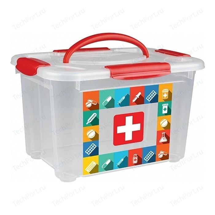 Коробка универсальная Бытпласт с ручкой и декором АПТЕЧКА 5.5л, 283х200х170мм