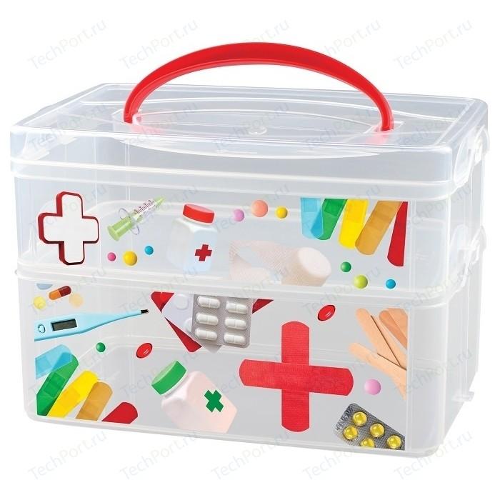 Коробка универсальная Бытпласт с ручкой и декором MULTI BOX 2 секции, 245Х160х165мм