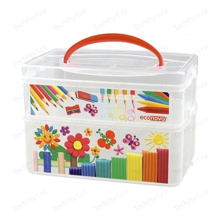Коробка универсальная Бытпласт с ручкой и декором ART BOX 2 секции, 245Х160х165мм