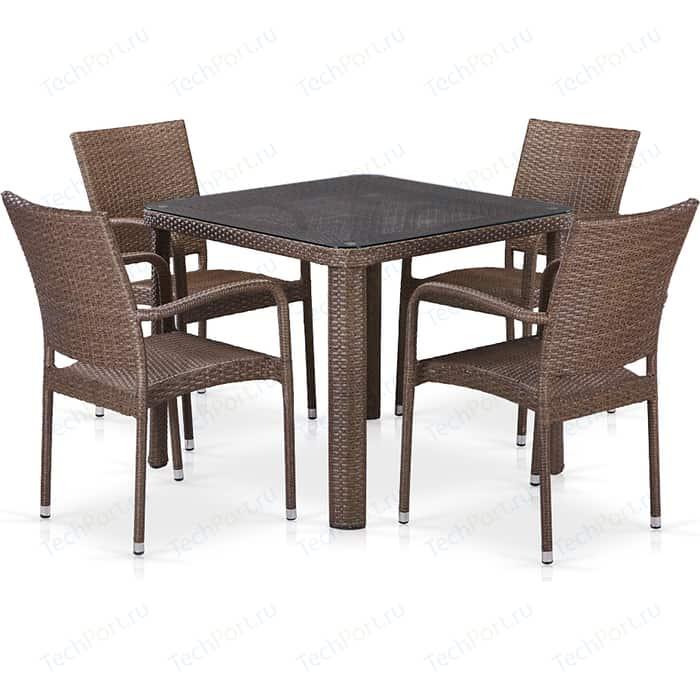 Комплект плетеной мебели из искусственного ротанга Afina garden T341B/Y376-W773-90x90 4Pcs brown
