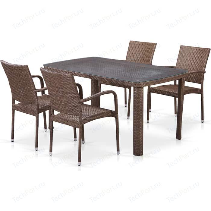 цена на Комплект плетеной мебели из искусственного ротанга Afina garden T51A/Y376-W773-150x85 4Pcs brown