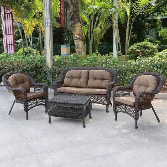 Плетеный комплект для отдыха из искусственного ротанга Afina garden LV520BB brown/beige