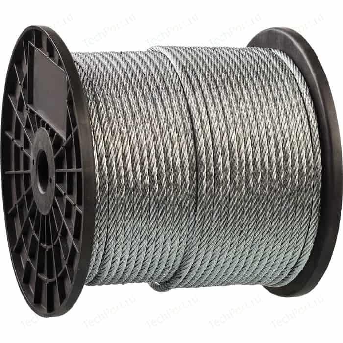 Трос стальной Зубр 8мм х 80м DIN 3055 Профессионал (4-304110-08) трос стальной зубр din 3055 d 6 мм l 120м профессионал 4 304110 06