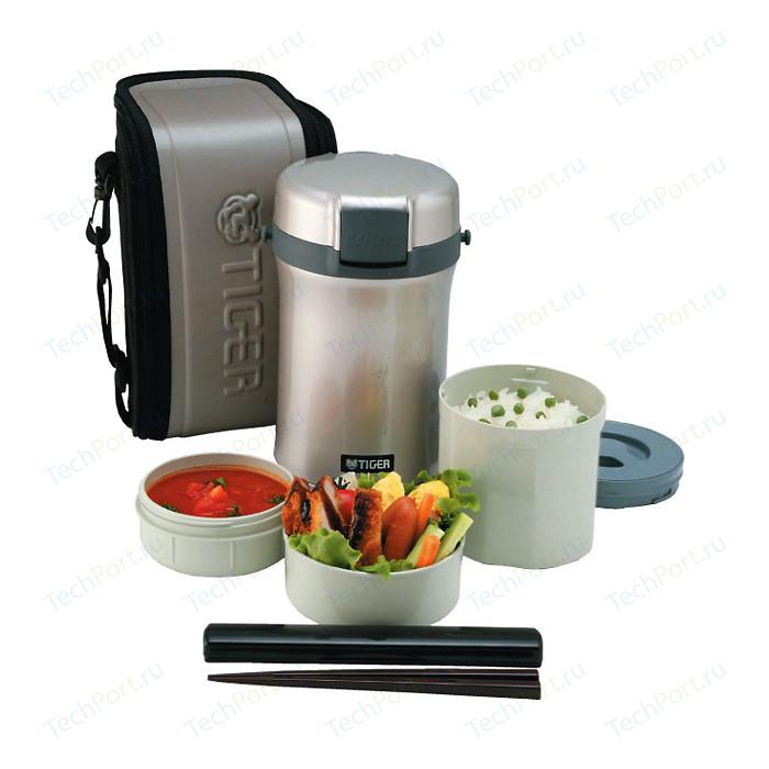 Термос Tiger для еды с контейнерами LWU-B200 Warm Silver