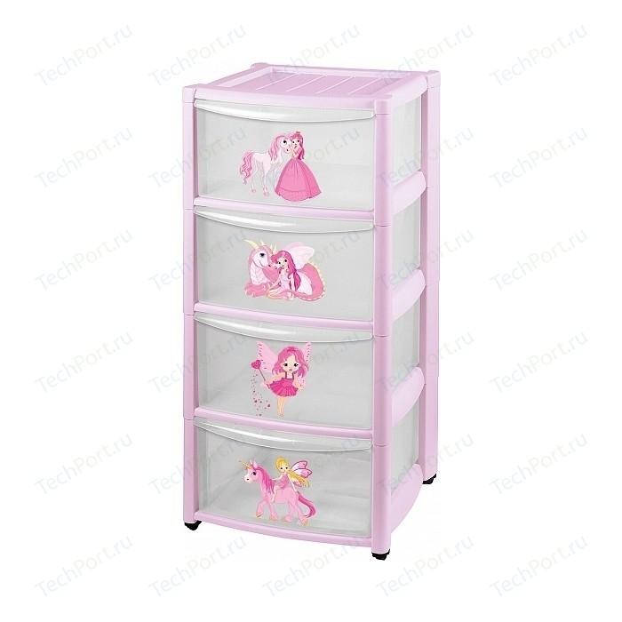 Комод детский Бытпласт на колесах 4 ящика (розовый) (431342505)