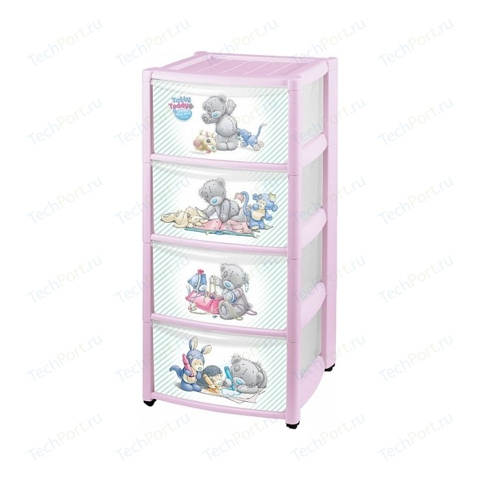Комод детский Бытпласт на колесах с аппликацией me to you 4 ящика (розовый) (431302005)