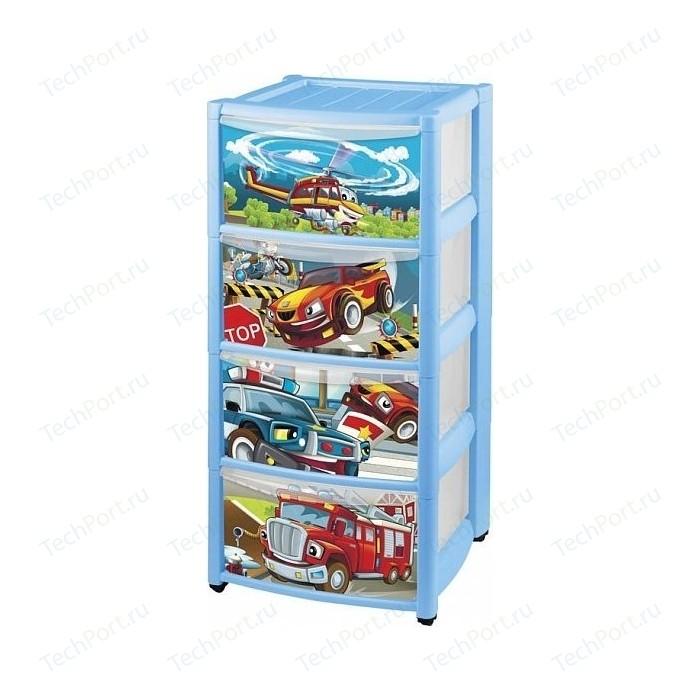 Комод детский Бытпласт на колесах с выдвижными ящиками аппликацией 4 ящика (431303702)