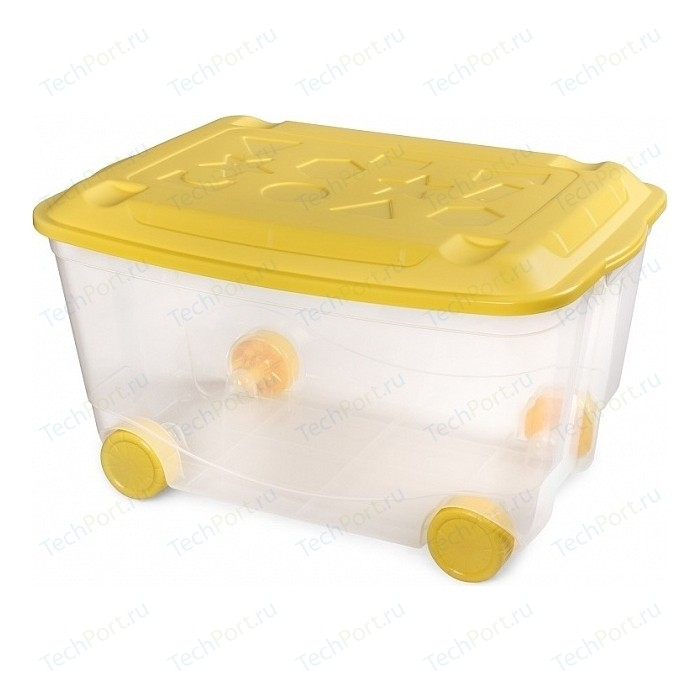 Фото - Ящик для игрушек Бытпласт на колесах 580х390х335 мм (бесцветный) (431306201) ящик для игрушек на колесах с аппликацией том и джерри 580х390х335 мм сиреневый в кор 4шт