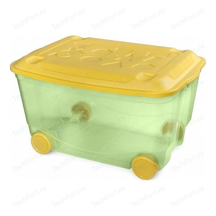 Ящик для игрушек Бытпласт на колесах 580х390х335 мм (зеленый) (431306209) ящик для игрушек бытпласт на колесах с аппликацией me to you 580х390х335 мм розовый 431304105