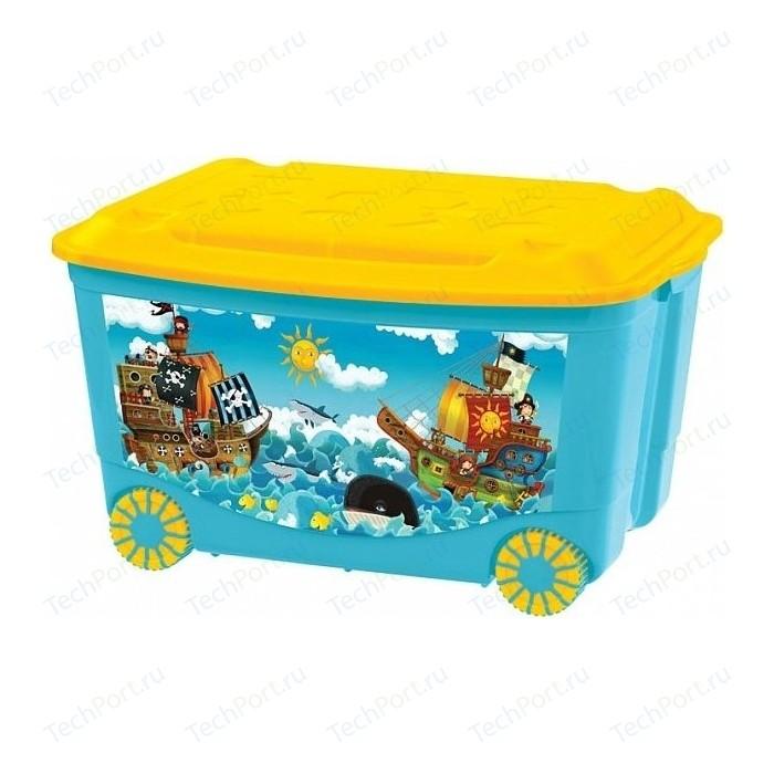 Фото - Ящик для игрушек Бытпласт на колесах 580х390х335 мм с аппликацией (голубой) (431380902) ящик для игрушек на колесах с аппликацией том и джерри 580х390х335 мм сиреневый в кор 4шт