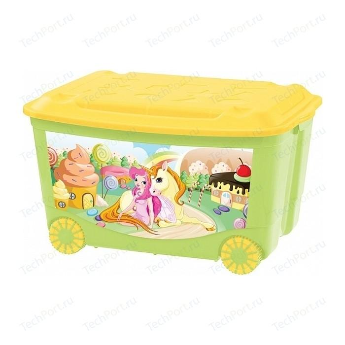 Фото - Ящик для игрушек Бытпласт на колесах 580х390х335 мм с аппликацией (зеленый) (431380909) ящик для игрушек на колесах с аппликацией том и джерри 580х390х335 мм сиреневый в кор 4шт