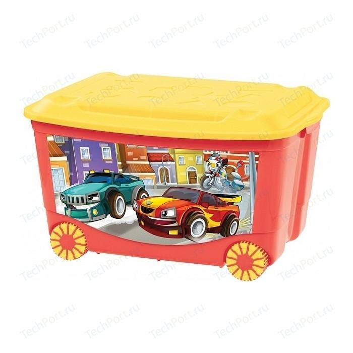 Фото - Ящик для игрушек Бытпласт на колесах 580х390х335 мм с аппликацией (красный) (431380904) ящик для игрушек на колесах с аппликацией том и джерри 580х390х335 мм сиреневый в кор 4шт