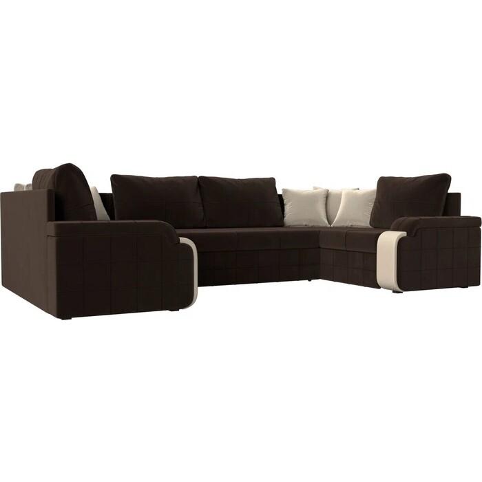 Диван Лига Диванов Николь П микровельвет коричневый диван п образный лига диванов бостон велюр mr коричневый