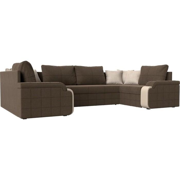 Диван Лига Диванов Николь П рогожка коричневый диван п образный лига диванов бостон велюр mr коричневый
