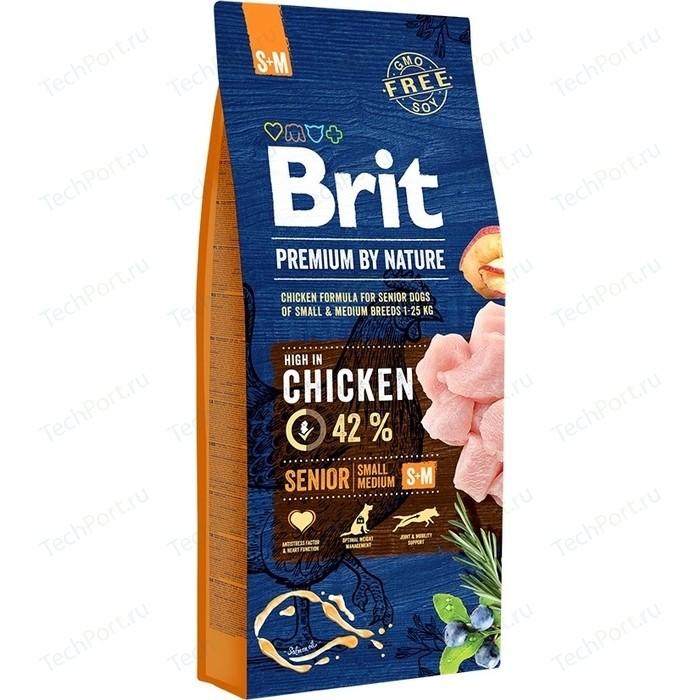 Сухой корм Brit Premium by Nature Senior S+M Hight in Chicken с курицей для пожилых собак мелких и средних пород 15кг (530175)