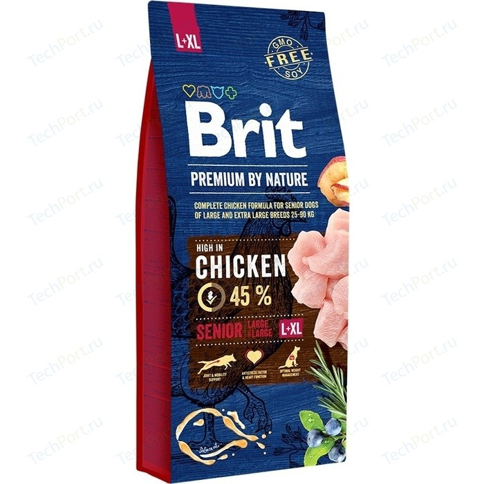 Сухой корм Brit Premium by Nature Senior L+XL Hight in Chicken с курицей для пожилых собак крупных и гигантских пород 15кг (526482)