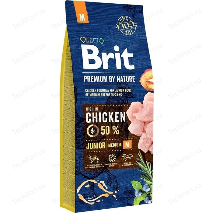 Сухой корм Brit Premium by Nature Junior M Hight in Chicken с курицей для молодых собак средних пород 15кг (526338)