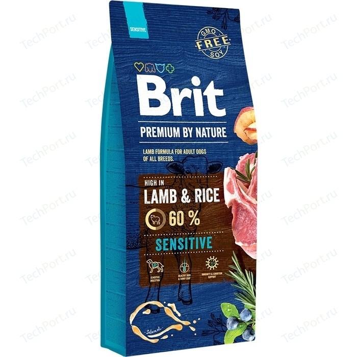 Сухой корм Brit Premium by Nature Sensitive Hight in Lamb & Rice с ягненком и рисом для собак чувствительным пищеварением 15кг (526642)