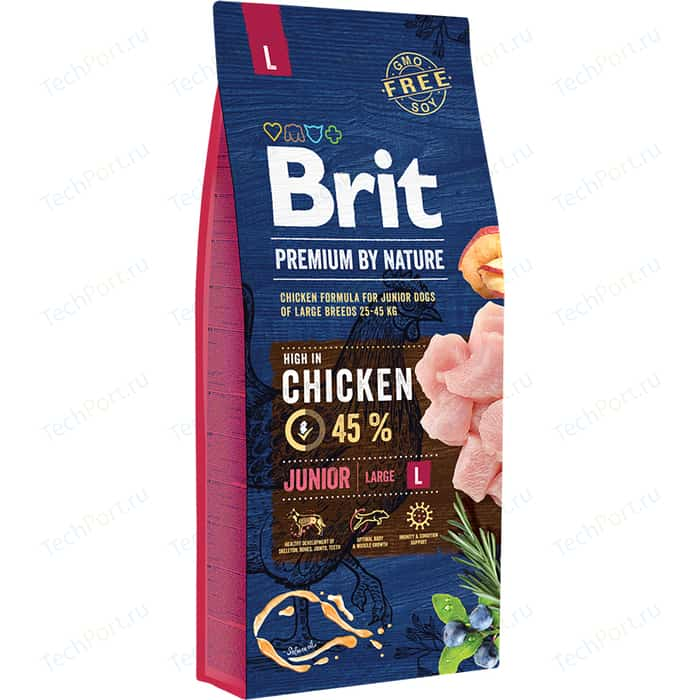 Сухой корм Brit Premium by Nature Junior L Hight in Chicken с курицей для молодых собак крупных пород 15кг (526437)