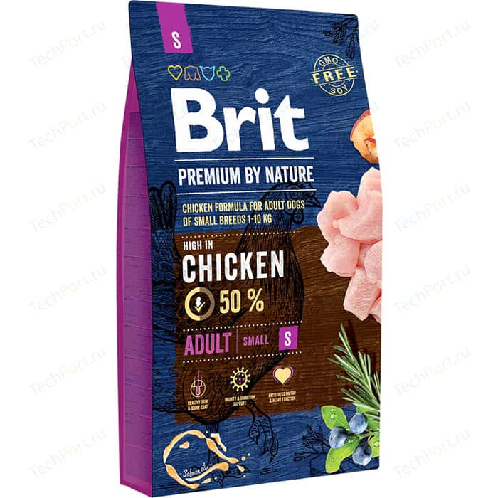Сухой корм Brit Premium by Nature Adult S Hight in Chicken с курицей для взрослых собак мелких пород 8кг (526307)