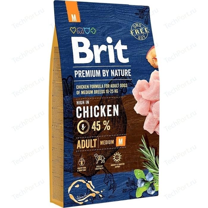 Сухой корм Brit Premium by Nature Adult M Hight in Chicken с курицей для взрослых собак средних пород 8кг (526369)