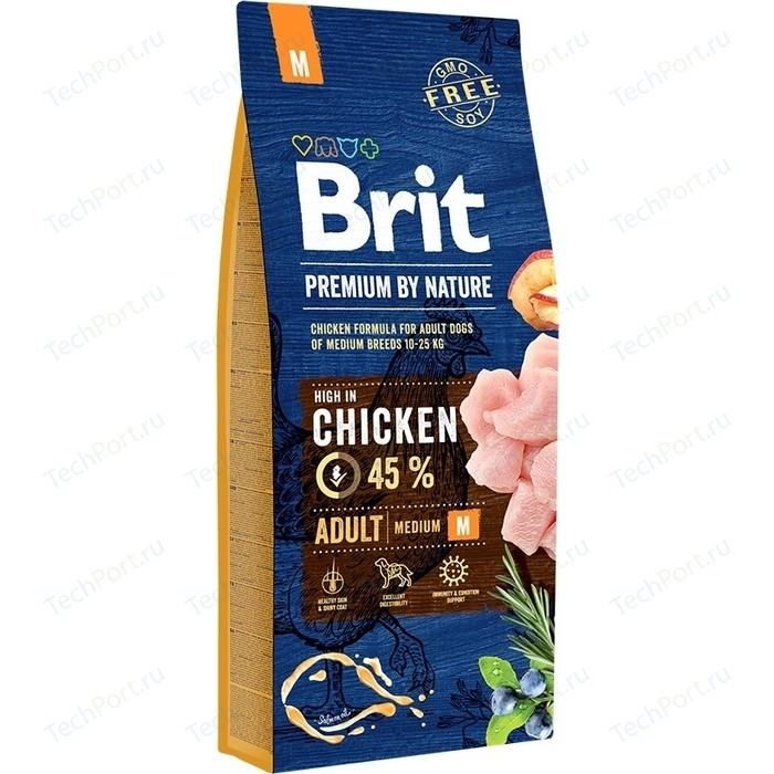 Сухой корм Brit Premium by Nature Adult M Hight in Chicken с курицей для взрослых собак средних пород 15кг (526376)