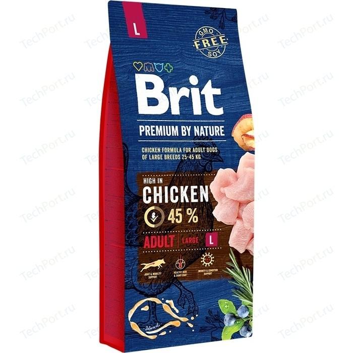 Сухой корм Brit Premium by Nature Adult L Hight in Chicken с курицей для взрослых собак крупных пород 15кг (526468)