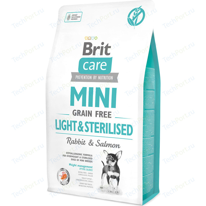 Сухой корм Brit Care MINI Grain-Free Light & Sterilised Rabbit Salmon беззерновой c кроликом и лососем для собак мелких пород 2кг (521067)