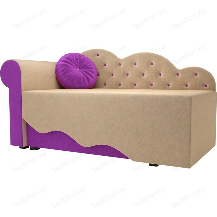 Детская кровать АртМебель Тедди-1 микровельвет бежевый/фиолетовый левый угол